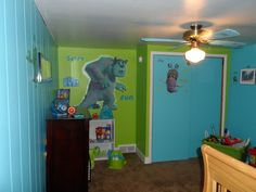 Monsters Inc. or Monsters University bedroom! The paint came from Wal mart (Sulley's Fur, Mike's Mayhem, and trimmed in Excellent Pupil)