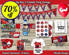 Big Hero 6 Birthday Party Package 70% OFF SALE 18 items included! Printable Party Banner Food Tent Labels - Digital File - Instant Download