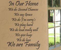 In Our Home We Do Second Chances Love Home Family Decorative Vinyl Sticker Art Wall Decal Quote Lettering Decor Saying Decoration F63. $27.97, via Etsy.