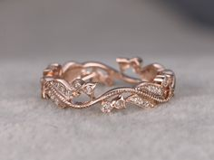 Natural Diamonds,Full Eternity Wedding Ring,Art Nouveau,14K Rose gold,Anniversary Ring,Art Deco,Vintage Floral,stackable,milgrain,Stacking by popRing on Etsy