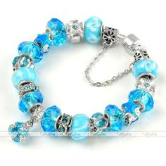 Sky Blue Fashion Murano Glass Cz Crystal European Beads Charm Bracelet Gift #Jewelry #Deal #Fashion