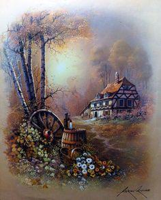Andres Orpinas Images Vintage, Vintage Art, Beautiful Paintings, Beautiful Landscapes, Landscape Art, Landscape Paintings, Images D'art, Image Nature, Learn Art