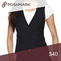 The Limited - Black Menswear-Inspired Suiting Vest Black suiting vest with five buttons down the front. Three front slip pockets still sewn shut. Front darts make this fit very flattering. Adjustable tie belt and satin panel insert in the back add interest. BNWOT (tags are missing but this has never been worn). The Limited Jackets & Coats Vests