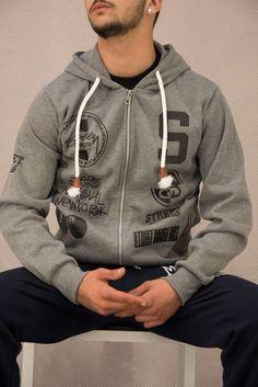 Ανδρική ζακέτα φούτερ με στάμπα  FOUT-1203-gr Φούτερ - Sport & Αθλητικά Bomber Jacket, Hoodies, Sweaters, Jackets, Fashion, Down Jackets, Moda, Sweatshirts, Fashion Styles