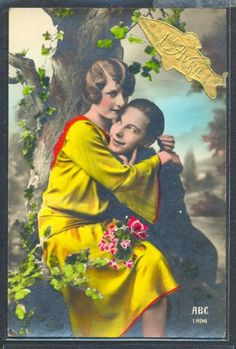PM066-ART-DECO-FASHION-COUPLE-Romance-KITSCH-FRENCH-Tinted-PHOTO-pc