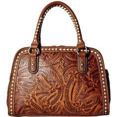 M&F Western Floral Embossed Buck Stitch Dr. Bag (Tan) Bags ($69) ❤ liked on Polyvore featuring bags, handbags, shoulder bags, doctors bag, western handbags, tan shoulder bag, western purses and gladstone bag