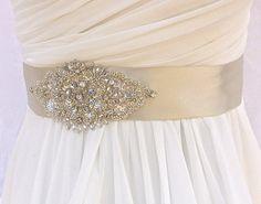 Beaded Bridal Sash-Wedding Sash In Platinum Champagne, Beaded Sash, Wedding…