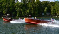 Twin rare 1939 Gar Woods  out for some fun. Clam River Michigan #boatonlakespeed