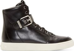 Pierre Balmain Black Leather High-Top Sneakers