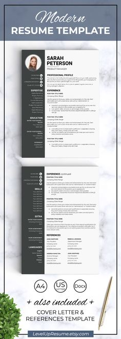 Modern resume template. Resume design. Career advice. Job search. Get hired! Click on the link or save the pin to your board >>>>> #career #job #resume #resumetemplate #girlboss #successfulwomen