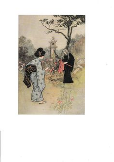 Buy Warwick Goble The Haunted Flute and other Japanese Stories The Sword of Ide ORIGINAL Book Plate Decorative Wall/Nursery  Hanging 1995 by vandrvintageprints. Explore more products on http://vandrvintageprints.etsy.com