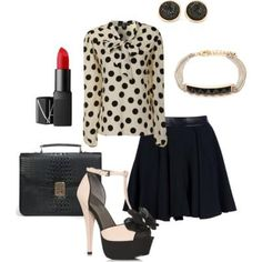 A girly-girl, black & white ensemble.