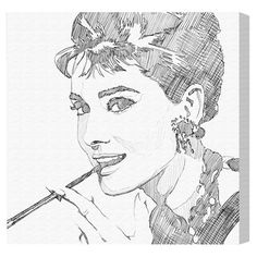 Express your style with this fashion-forward canvas print, showcasing a sketch-inspired portrait of Audrey Hepburn. Product: ...
