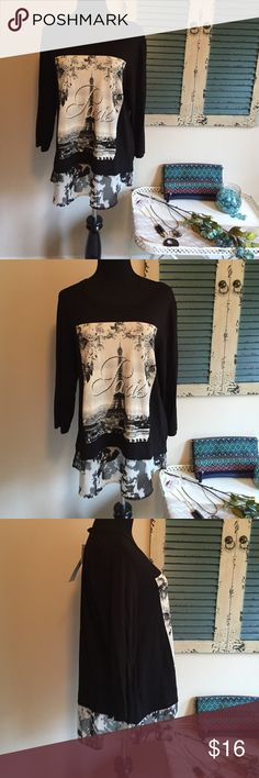 Paris boutique layered top This boutique top is so cute! 3/4 sleeves and a chiffon ruffle and great Paris graphic. Size large and new with tags. Polyester and spandex blend. Smoke free home and fast shipping. Like me on Facebook Looking Glass Lane Boutique. Ava james Tops