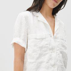 Women's Linen Workwear Shirt   Everlane The White Album, Modern Essentials, Capsule Wardrobe, Work Wear, Most Beautiful, Shirts, Shopping, Tops, Women
