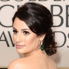 Brides: Red Carpet Wedding Hairstyles. Lea Michele at the 2010 Golden Globes