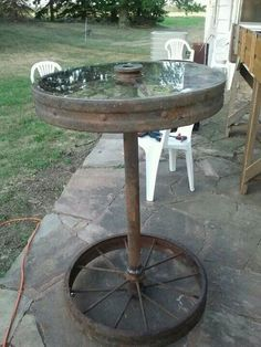 Table from old wagon wheels