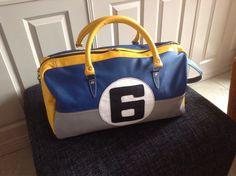 Blauw,grijs en geel leren sporttas nr 6