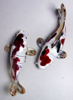 2 CARP KOI Fish hand blown ART GLASS figurine animal miniature GIFT ornament collection