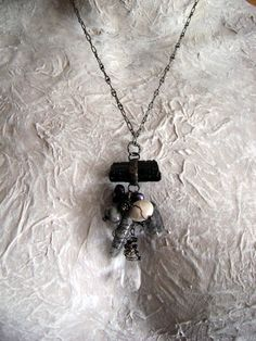 Night on the Town Stone and Pearl necklace by by anvilartifacts, $88.00