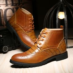 Buy now Men 's shoes autumn and winter Martin boots England Bullock high to help Korean version of the boots retro casual shoes A8003 just only $30.02 with free shipping worldwide  #menshoes Plese click on picture to see our special price for you