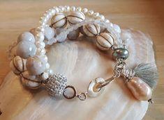 GLITTERY - 4-er Perlenarmband - weiss-Sterling Silber Bronze, Beaded Bracelets, Charmed, Etsy, Jewelry, Fashion, Rhinestones, Wristlets, Silver