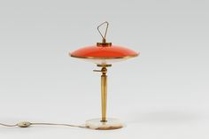 Gilardi & Barzaghi; table lamp, brass, laquered metal, marble, Italy, c1950