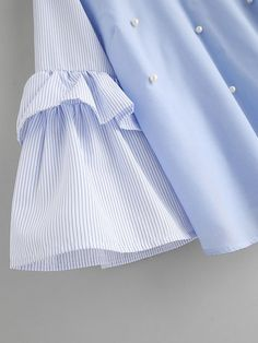 Contrast Striped Frill Sleeve Tie Back Pearl Beading BlouseFor Women-romwe Kurti Sleeves Design, Sleeves Designs For Dresses, Sleeve Designs, Mode Abaya, Mode Hijab, Kurta Designs, Blouse Designs, Abaya Fashion, Fashion Dresses