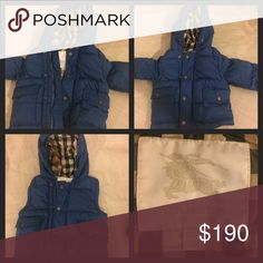 Boys Burberry puffer coat Boys puffer coat in blue. Sleeves can be zipped off and can be worn as a vest. Excellent like new condition!! Smoke and pet free home. Worn by one child for a few months. Size 12 months. Burberry Jackets & Coats Puffers