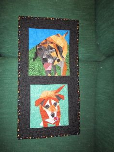 Paperpieced dogs quilted hanging