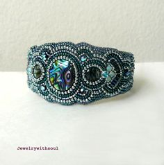 Bead embroidery  cuff bracelet with paua by jewelrywithsoul, $130.00
