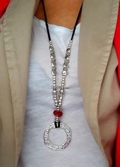 Silver ring necklace Red crystal necklace Silver plated beaded necklace Women jewelry Long leather pendant Urban style Mother daughter gift MADE TO ORDER ! I make this to be 16 long BEFORE the suspension , but all jewelry can be adjusted to any size and be custom made for you free of