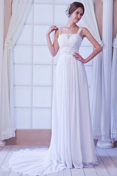 Chiffon Sleeveless Elegant Crystals/Beading/Sequins Straps Natural Train White Zipper Floor-length A-line Sweetheart/Spaghetti Court Wedding Dress Wedding Dress Chiffon, Fall Wedding Dresses, Cheap Prom Dresses, Cheap Wedding Dress, Formal Dresses, Silhouette, White Dresses For Women, Bridal Gowns, Beautiful Dresses
