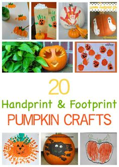 20 handprint and footprint pumpkin craft projects for children. Great autumnfall ideas - and extra special halloween pumpkin decorating ideas too!