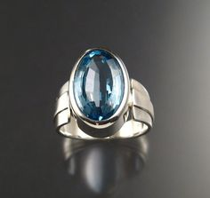 Large Blue Topaz Mans ring Sterling Silver by stonefeverjewelry, $349.00