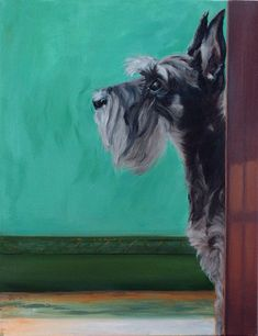 This is a print of an oil painting I did of a miniature schnauzer that has sold. I am able to print 3 sizes of this image. Each print is signed and numbered by me. Click on the drop down box to choose the one youd like. 4x6 is cut to fit a 5x7 frame 5x7 is cut to fit an 8x10 frame