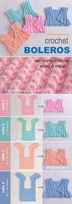 Boleros tejidos a crochet en punto choclo, maíz o elote para bebés y niñas (4 tallas).  Video tutorial del paso a paso :)