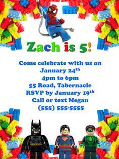 Lego Birthday Invitation Marvel