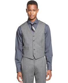 Ryan Seacrest Distinction Grey Tweed Slim-Fit Vest $60