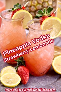 Pineapple Vodka Strawberry Lemonade is a refreshing and delicious cocktail that is easy enough for any day of the week! Make a small batch for a couple of cocktails or a large batch for parties. Vodka Strawberry Lemonade, Vodka And Pineapple Juice, Pineapple Cocktail, Lemonade Cocktail, Frozen Lemonade, Cocktail Drinks, Vodka Strawberries, Party Drinks, Orange Juice Cocktails
