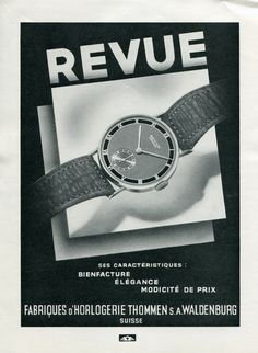 Vintage 1940 Fabriques d'Horlogerie Thommen SA Revue Watch Co Swiss Ad Publicite Suisse Montres