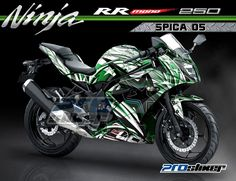 Kawasaki Ninja RR Mono 250cc Motor Warna Hijau Modifikasi Stiker Desain Grafis Spica 05 Hijau