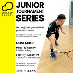 Register now for our junior tournaments coming up next month! For any junior graded 1500 points and below. - www.doubledotsquash.com/juniortournamentseries _ #doubledotsquash #squash #brownsbayracquetsclub #hernebayracketsclub #brownsbay #hernebay #squashauckland #squashnz #squashnewzealand #squashcoaching #squashcoach #juniorsquash #psaworldtour #squashcourt #squashies #squashplayer #squashgoals #squashlife #squashing #squashlife #squashaddict #squashing #juniorsquash… Squash Rules, Squash Gear, Sunday Events, Double Dot, Morning Running, Coaching, Competition, Champion, Training