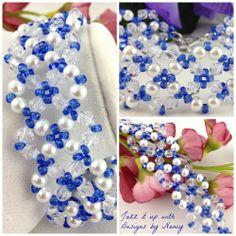 Elegant lacy White Pearl Clear Swarovski Rich Blue Bead Woven Bracelet