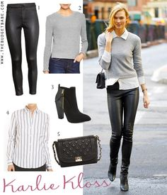 Dress by Number: Karlie Kloss' Gray Sweater and Leather Skinnies