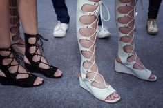 Lace-up mini wedges in mint suede prepare to walk the Spring-Summer 2015 runway