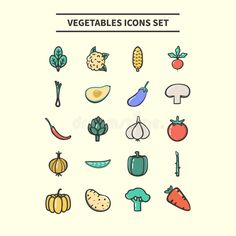 Vegetables Icons Set Stock Vector - Image: 99024374