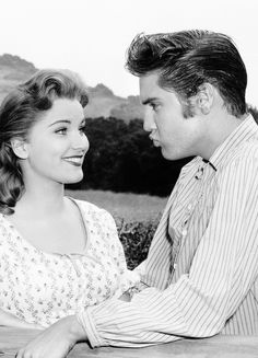 "ELVIS PRESLEY -  Elvis and Debra Paget on the set of ""Love Me Tender"", 1956."