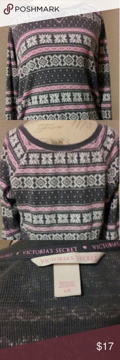 Victoria's Secret Snow Flakes Thermal/Top Snowflakes & Stripes Grey Pink & White In Color Can Be Used As A Top If You Prefer. This Item Is Not From A Smoke Free Home. Thank You For Visiting My Closet. Victoria's Secret Tops Tunics