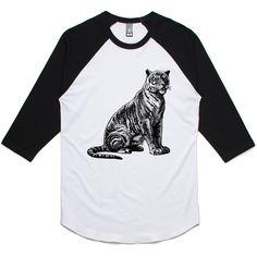 theIndie Vintage Tiger (Black) 3/4-Sleeve Raglan Baseball T-Shirt